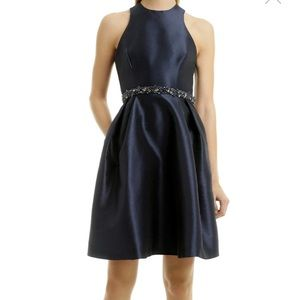 ML Monique Lhullier Navy Cocktail Dress w/ beading